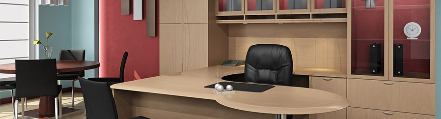Photo of leather office chair at wooden office desk