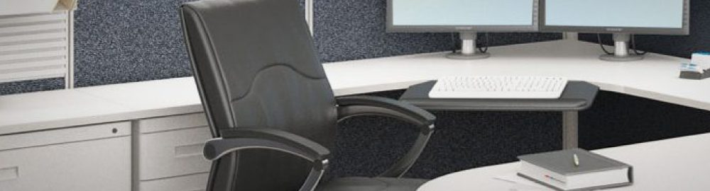 Photo of leather office chair at a desk